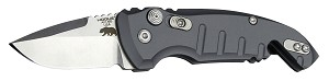 "A01-Microswitch 1.95"" Folder Drop Point Blade Tumble Finish Alum Frame - Matte Grey"