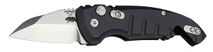 "A01-Microswitch 1.95"" Folder Wharncliffe Blade Tumble Finish Alum Frame - Matte Black"