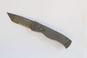 Grey handle blasted TANTO blade p/s