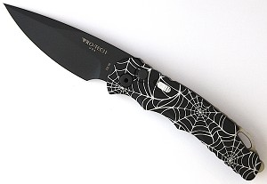 Tr-5 Automatic Black handle DLC Black Blade Spider Web Laser Engraving