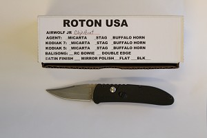 Roton Airwolf JR, 6061t6 Handle, Clip Point Bead Blasted Plain Edge 440C