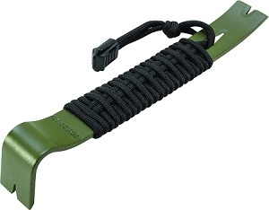 "8"" Olive Drab Green Powder Coated SK5 550 Paracord Wrapped Pry Bar"