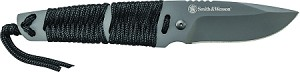 Drop Point Fixed Blade, Paracord Wrapped Handle, Nylon Fiber Sheath